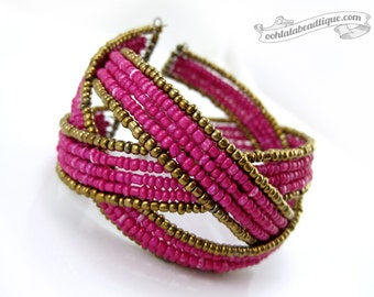 Fuchsia pink Cuff bracelet boho bracelet pink bracelet beaded jewelry fuchsia bangle memory wire bracelet pink cuff holiday gift under 20