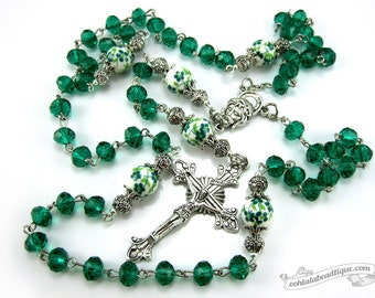 Green Crystal Rosary first communion gift confirmation rosary Baptism Gift catholic rosary christening gift green birthstone rosary for boys