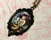 Cabochon Art Necklace - Dark Mermaid Fairytale Girl Miniature Wearable Art Cameo Pendant