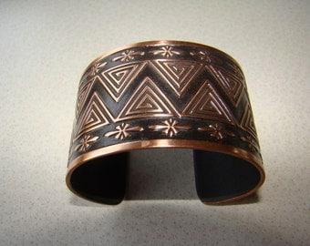 Copper Bracelet Black Hammered Artisan Designer Cuff