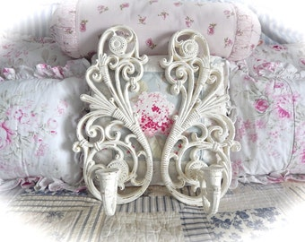 SHABBY Vintage Retro Off White Cream Candle Wall SCONCES Distressed Weathered Scrolled Cottage CHIC Set Of 2
