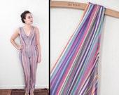 Deep V Romper Vertical Stripe Jumpsuit 1980s Avon Small Purple Pink