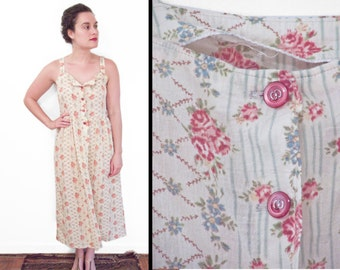 Watercolor ROSE Dress // 1940s Handmade Cotton Button Down Sundress Small
