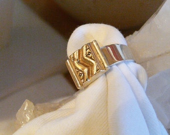 Mark Jimenez 14K gold and sterling silver artisan ring