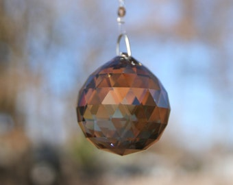 Bronze Shade Sphere - Swarovski Crystal Suncatcher