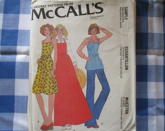 Vintage Apron McCalls Sewing Pattern Uncut Back Wrap Apron in Three lengths Includes All Sizes Dated 1978