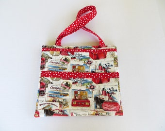 Travel Themed Red and White Tote