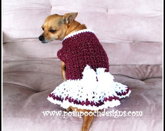 Winter Berry Dog Sweater Dress Instant Download Crochet Pattern