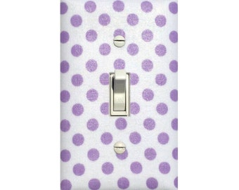Lavender White Polka Dot Switchplate Cover / Baby Girl Nursery Decor Lilac Purple Light Switch Plate Riley Blake Slightly Smitten Kitten