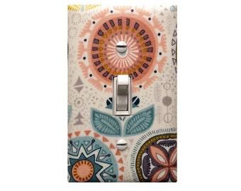 Flower Light Switch Plate Cover / Baby Girl Nursery Decor Tribal Pastel Colors / Teen Girl Girls Room Bathroom Sophia Flower in Pink