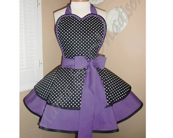 Polka Dot Print Woman's Retro Apron Accented With Purple, Featuring Heart Shaped Bib
