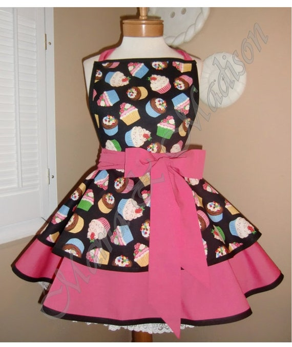 Cupcake Print Woman's Retro Apron Accented With Hot Pink...Ready To Ship