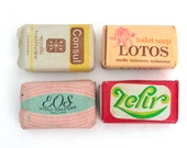 Vintage 70s bar soap set from Europe, Soap Souvenir, Display Cleaning , Collectibles gifts
