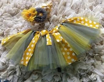 Yellow, Gray Tutu with Headpiece, Tulle skirt, Photo Prop, Halloween, Fall, Child Tutu Set