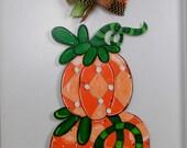 Pumpkin Door Hanger, Fall Door Hanger, Stacked Pumpkins, Orange Pumpkins,
