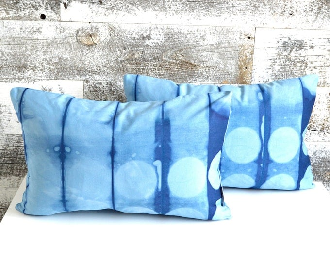 Navy Blue Shibori Pillow Covers 12x18 inches - Marine