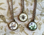 NJ goldfinch, honeybee, violet necklace, copper, state, bird, flower, insect, bee