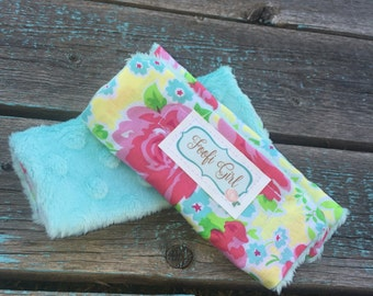 Aqua Floral Carseat Strap Covers
