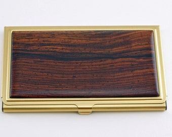 Business Card Case- Wood Top with Brass Case cocobolo, maple, lacewood,ebony. Business gift, graduation gift, new job gift, Fathers Day