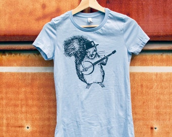 Squirrel Banjo Shirt, Womens Blue T-shirt