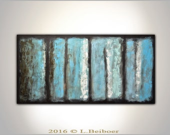 Original large textured contemporary palette knife abstract painting 24 x 48  artwork striped wall art modern abstract by L.Beiboer