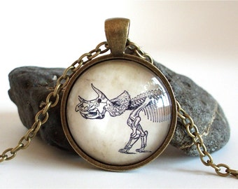 Dinosaur Necklace - Triceratops Fossil Pendant in Brass
