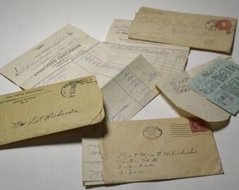 Paper Ephemera ~ Letters ~ 1920's ~ 1940's ~ Receipts ~ Banking ~ Sanitarium Statement ~ Postage ~ Vintage Mail