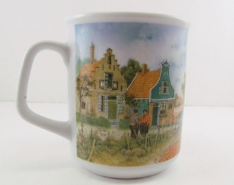 J C Van Hunnik Holland Handdecorated Coffee Mug House Windmill Garden Hot Tea