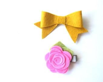 Flower Clip Set - Pink Mustard Flower Clip Set