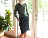 Take 30% off Vintage Emanuel Ungaro Parallele Paris sweater tweedy designer dark green Takashimaya: extra small, small