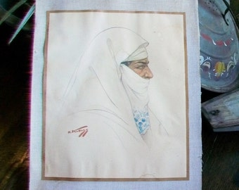 1940s Watercolor Morrocan Woman by Hans Kleiss Vintage Painting Listed Artist