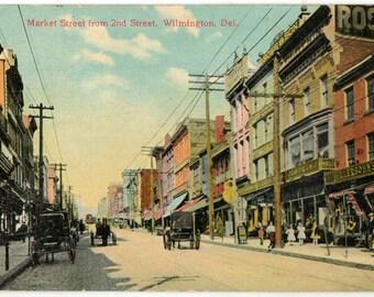 Vintage Postcard, Wilmington, Delaware, Market Street from 2nd. Street, ca 1910