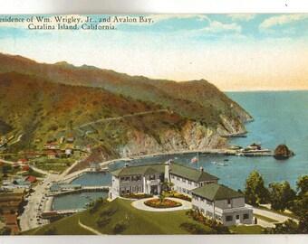 Linen Postcard, Catalina Island, California, Residence of William Wrigley, Jr