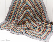 Granny Square Crochet Blanket - Blue Multi - Merino Wool, Cashmere - Baby Gift, Lap Blanket, Throw - Ready to Ship, UK Seller