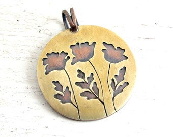 Mixed Metal Necklace, Poppy Pendant, Gift for Her