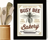 Honey Bee Baker Gift Kitchen Art Print Rolling Pin Bakery Sign Homemade Cooking Art Cookies Busy Bee Vintage Art Bakes Cakes Country Kitchen