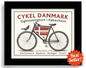 Danish Decor, Bicycle Art, Denmark Art, Copenhagen Bike Art, Cycling Art, Bicyclist Art, Bike Enthusiast, Danmark Flag Bike Rider