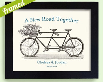 Wedding Gift Unique Engagement Personalized Gift Art Print for Couples Bicycle for Two Tandem Bicycle
