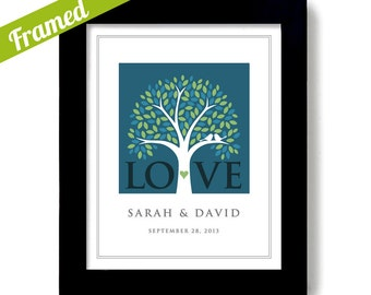 Unique Wedding Gift Personalized Art Print Wedding Tree for Couple Lovebirds Tree Engagement Gift Framed Anniversary Bridal Shower Present