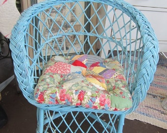Vintage Blue Wicker Child Chair Children Shabby Chic Farmhouse Prairie Cottage