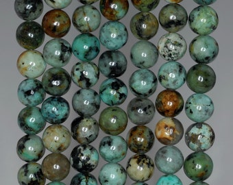 8mm African Turquoise Gemstone Green Round 8mm Loose Beads 7.5 inch Half Strand (90143962-172)