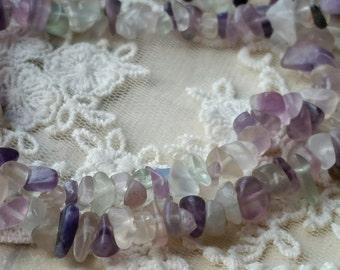 1 Strand of 7.5 inches (20 cm) Fluorite Quartz Stone Beads free forms.