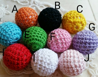 20 mm Crocheted Knitting Wool Yarn Crocheted Beads (Color of your Choice) (.hc)