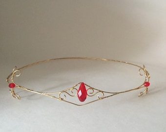 Forehead Circlet, gold wire with red stones, wonder women inspired
