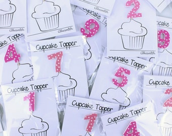 Individual Age Pink Spotty Birthday Cupcake Toppers