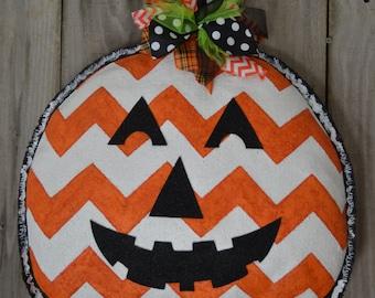 Ready to ship - Jack O Lantern Pumpkin Burlap Door Hanger