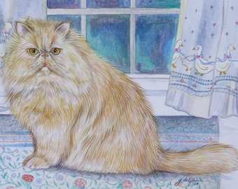"Custom Cat Portrait Watercolor 8"" x !0"""
