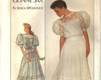 SIMPLICITY GUNNE SAX Jessica McClintock Vintage #8610 ©1988 Misses Lace Trimmed Dress  Size 14  Uncut Pattern