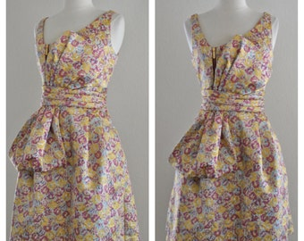 60s Style Metallic Lame Lurex Floral Dress with Bow Front in Yellow Metallic Gold with Purple Pink and Light Blue Size Small Medium