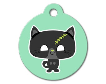 SALE Halloween Zombie Kitten Pet Tag - Dog Tags for Dogs - Custom Pet ID Tag for Dogs or Cats, Personalized Dog ID Tag, Sizes Small & Large